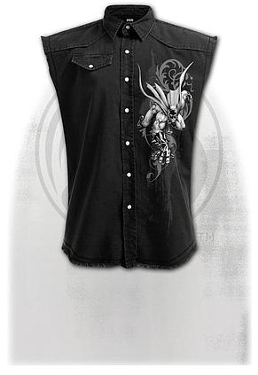 BATMAN - GOTHIC - Sleeveless Stone Washed Worker Black