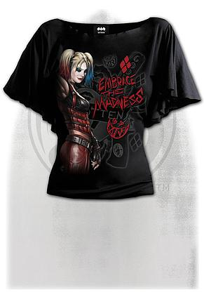 HARLEY QUINN - EMBRACE MADNESS - Boat Neck Bat Sleeve Top Black