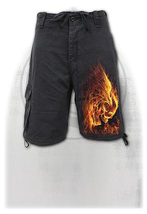 BURN IN HELL - Vintage Cargo Shorts Black