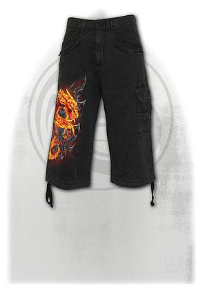 FIRE DRAGON - Vintage Cargo Shorts 3/4 Long Black