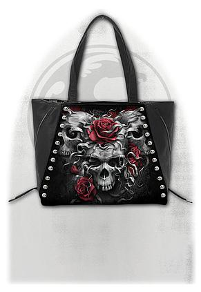 SKULLS N' ROSES - Tote Bag - Top quality PU Leather Studded