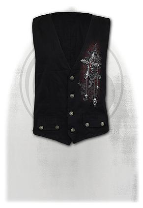 CROSS OF DARKNESS - Gothic Waistcoat Four Button with Lining