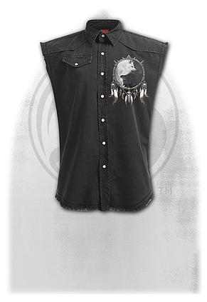 WOLF CHI - Sleeveless Stone Washed Worker Black