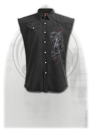 TRIBAL PANTHER - Sleeveless Stone Washed Worker Black