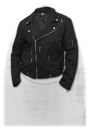 BONE FINGER - Lined Biker Jacket Black