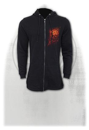 BURNT ROSE - Ladies Fish Tail Full Zip Hoody - Zip Sleeve