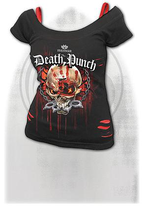 5FDP - ASSASSIN - 2in1 Red Ripped Top Black