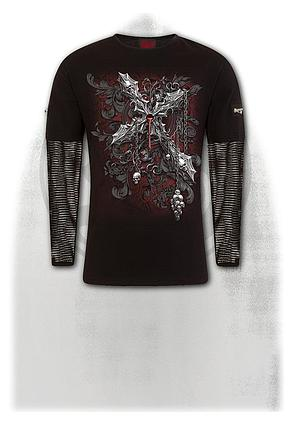 CROSS OF DARKNESS - Mesh Sleeve Zip Shoulder Long Sleeve Mens