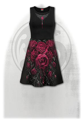 BLOOD ROSE AO - Mesh Layered Midi Skater Dress