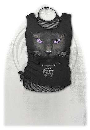 BLACK CAT - 2in1 Neck Tie Mesh Top Black