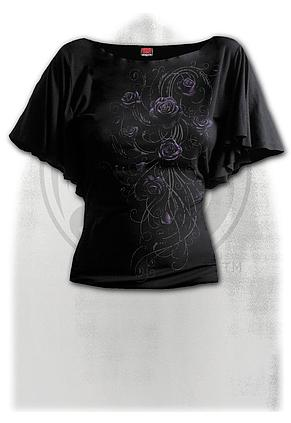 ENTWINED - Boat Neck Bat Sleeve Top Black