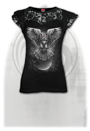 WINGS OF WISDOM - Lace Layered Cap Sleeve Top Black