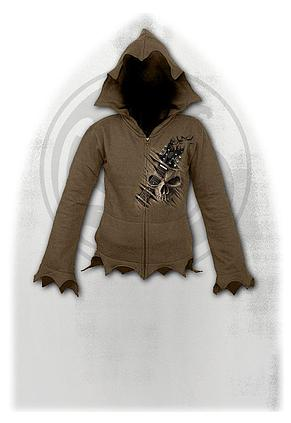 NIGHT RIFFS - Zig Zag Hem Full Zip Hoody Chocolate