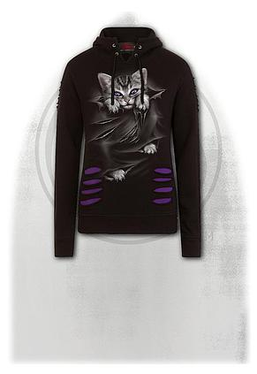 BRIGHT EYES - Large Hood Ripped Hoody Purple-Black
