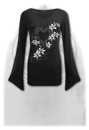 PURE OF HEART - V Neck Goth Sleeve Top Black