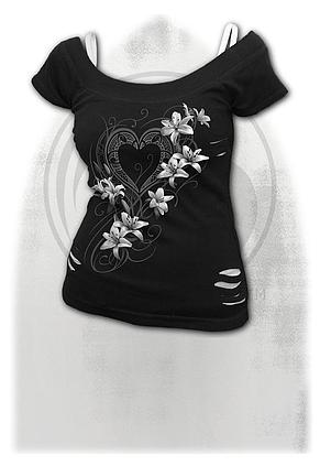 PURE OF HEART - 2in1 White Ripped Top Black