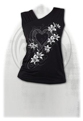 PURE OF HEART - Gathered Shoulder Slant Vest Black