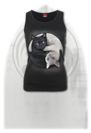 YIN YANG CATS - Razor Back Top Black