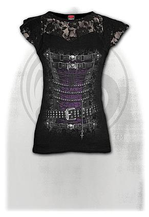 WAISTED CORSET - Lace Layered Cap Sleeve Top Black