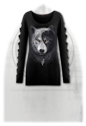 WOLF CHI - Slashed Sleeve Boatneck Top