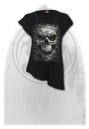 CAMO-SKULL - Raw Neck Asymmetric Viscose Top