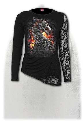 KEEPER OF THE FORTRESS - One Lace Sleeve Gathered Top