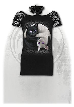 YIN YANG CATS - Knotted NeckBand Lace Shoulder Top