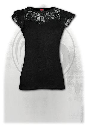 GOTHIC ELEGANCE - Lace Layered Cap Sleeve Top Black