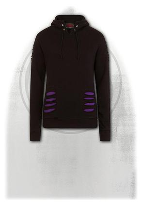 GOTHIC ROCK - Large Hood Ripped Hoody Purple-Black