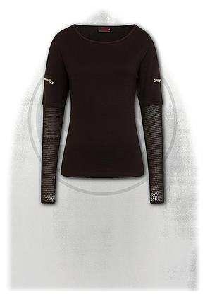 METAL STREETWEAR - Mesh Sleeve Zip Shoulder Long Sleeve Ladies