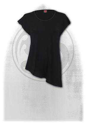 URBAN FASHION - Raw Neck Asymmetric Viscose Top