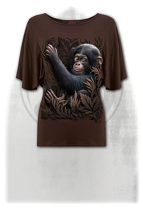 MONKEY BUSINESS - Boat Neck Bat Sleeve Top Chocolate