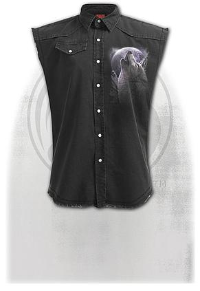 WOLF SOUL - Sleeveless Stone Washed Worker Black