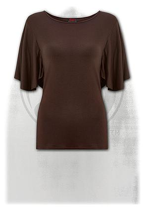 GOTHIC ELEGANCE - Boat Neck Bat Sleeve Top Chocolate