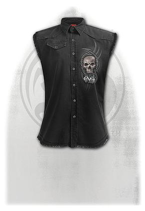 BOSS REAPER - Sleeveless Stone Washed Worker Black