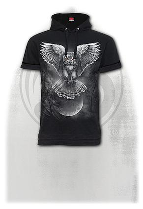 WINGS OF WISDOM - Fine Cotton T-shirt Hoody Black