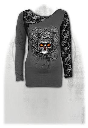 ROOTS OF HELL - Lace One Shoulder Top Grey