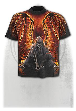 FLAMING DEATH - Allover T-Shirt Black