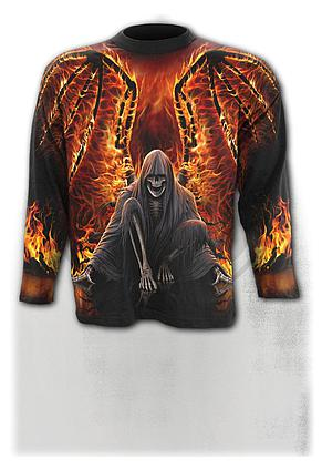 FLAMING DEATH - Allover Longsleeve T-Shirt Black