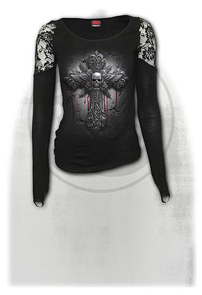 CRUCIFIX - Shoulder Lace Top Black