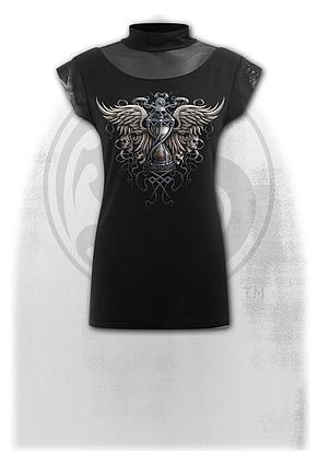 Spiral Blood Rose Red Stitch Cap Sleeve Top Black Special Order Gothic,Goth,