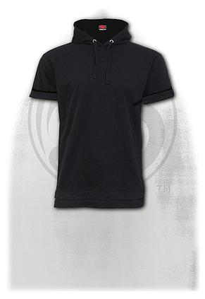 URBAN FASHION - Fine Cotton T-shirt Hoody Black
