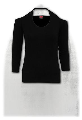 GOTHIC ROCK - Scoop Halter-Neck Long Sleeve Top