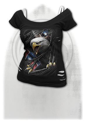 REBEL EAGLE - 2in1 White Ripped Top Black