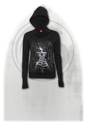 DAY OF THE GOTH - Wide Rib Drape Hoody Black