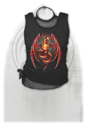 DRAGON'S WRATH - 2in1 Neck Tie Mesh Top Black