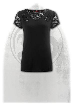 GOTHIC ELEGANCE - 2in1 Ripped Black Lace Top
