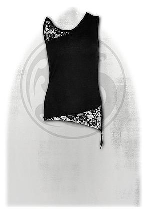 GOTHIC ELEGANCE - Adj Shoulder Lace Top Black