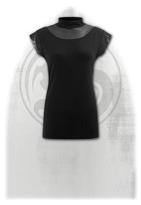GOTHIC ELEGANCE - Turtle Neck Fine Mesh Top Black