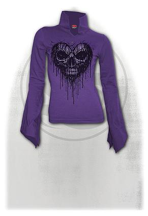DRIPPING HEART - High Neck Goth Top Purple